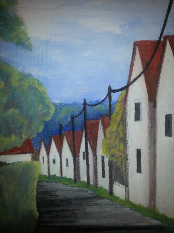 "French Village/16"" x 20"""