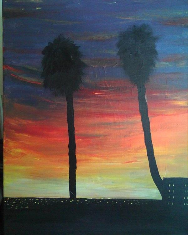 """LA Rooftop Sunset/16"""" x 20"""""""