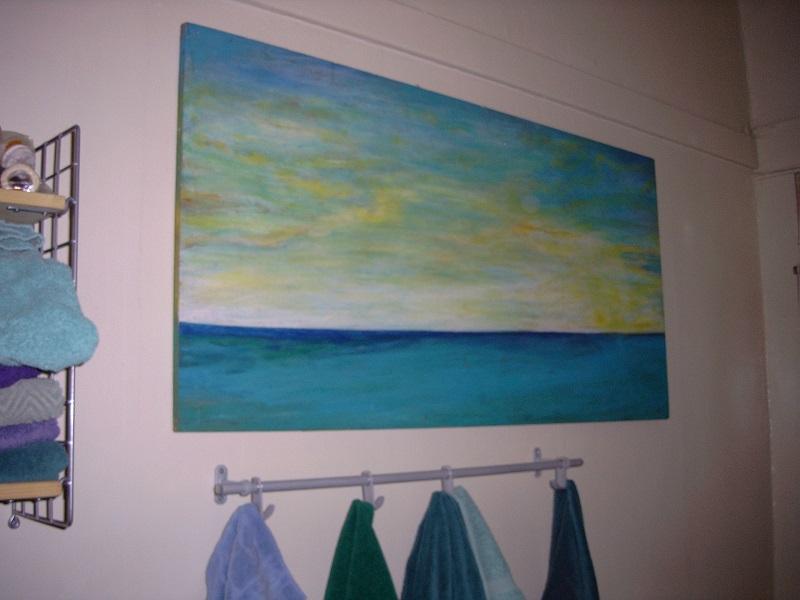 "Ocean Scene on Plywood/24"" x 64"""